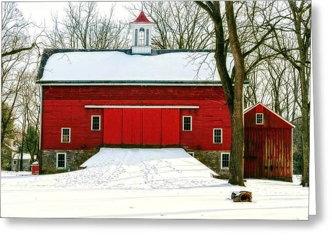 Greeting Card featuring the photograph Tinicum Barn In Winter II by Debra Fedchin