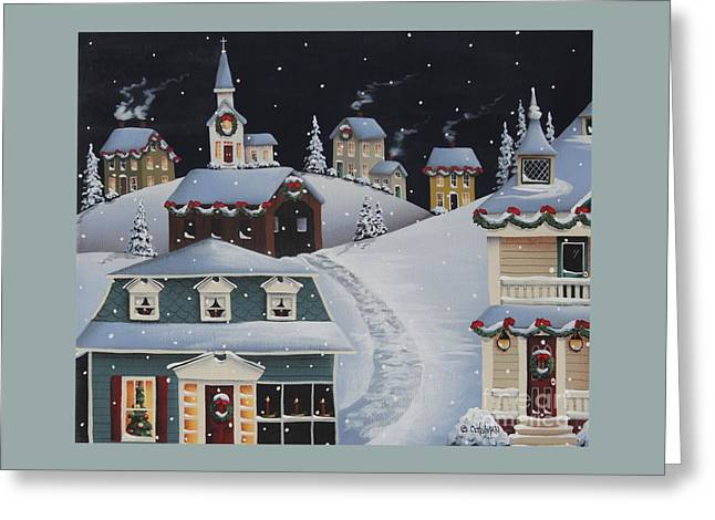 Tinsel Town Christmas Greeting Card by Catherine Holman