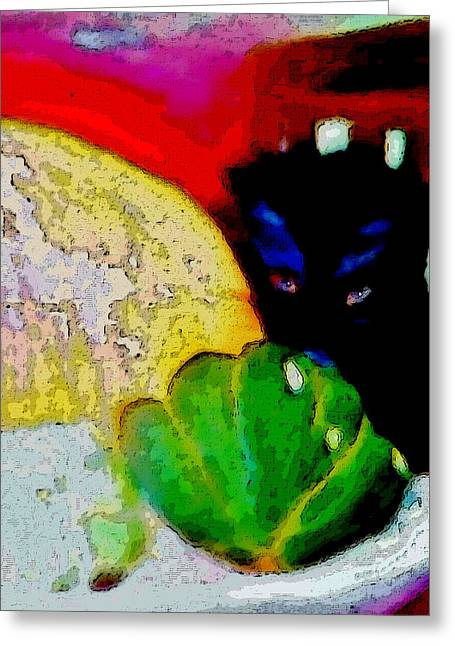 Greeting Card featuring the painting Tiny Black Kitten by Lisa Kaiser