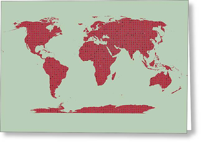 Tiny Red Hearts World Map Greeting Card by Daniel Hagerman