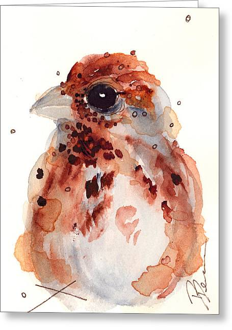 Tiny Sparrow Greeting Card by Dawn Derman