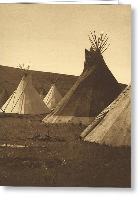 Tipis, Atsina Camp, Montana, 1908 Greeting Card by Getty Research Institute
