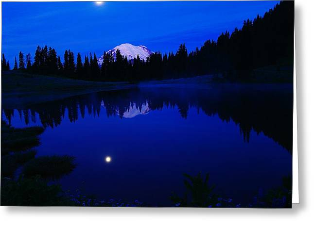Tipoe Lake And Mount Rainer Greeting Card by Jeff Swan