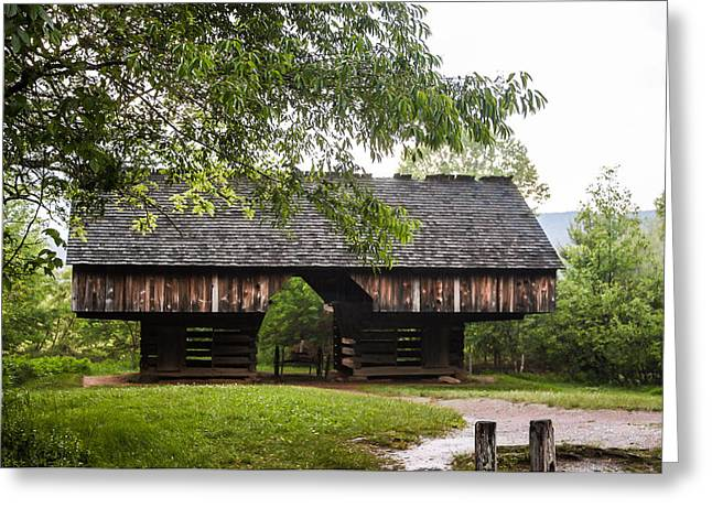 Tipton Cantilever Barn Cades Cove Greeting Card by Cynthia Woods