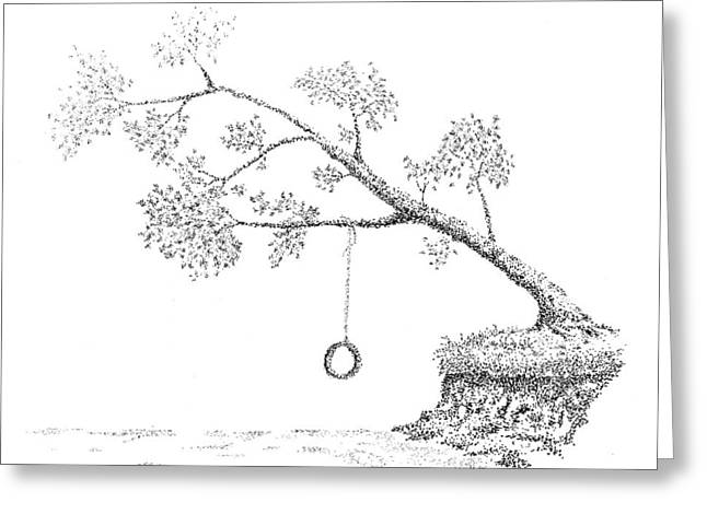 Tire Swing Greeting Card by Dan Haley