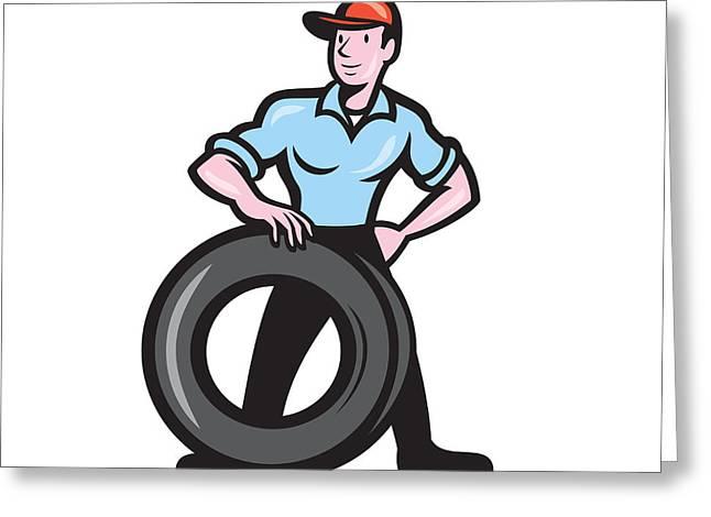 Tireman Mechanic With Tire Cartoon Isolated Greeting Card by Aloysius Patrimonio