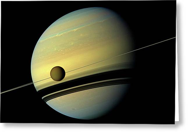 Titan And Saturn Greeting Card by Nasa/jpl-caltech/space Science Institute