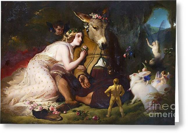 Titania And Bottom Greeting Card by Pg Reproductions