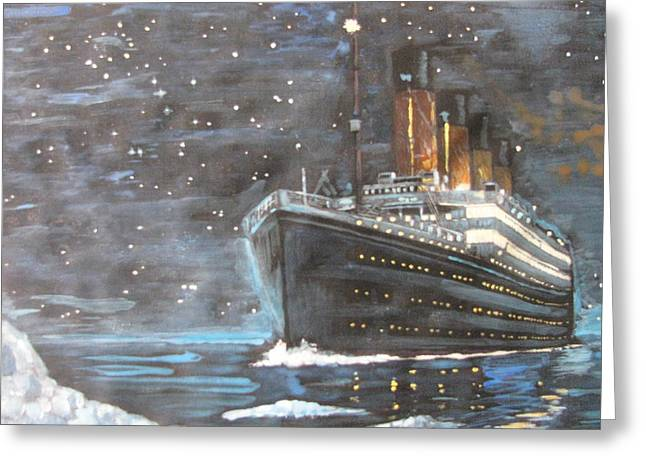 Greeting Card featuring the painting Titanic Heading To Disaster by Vikram Singh