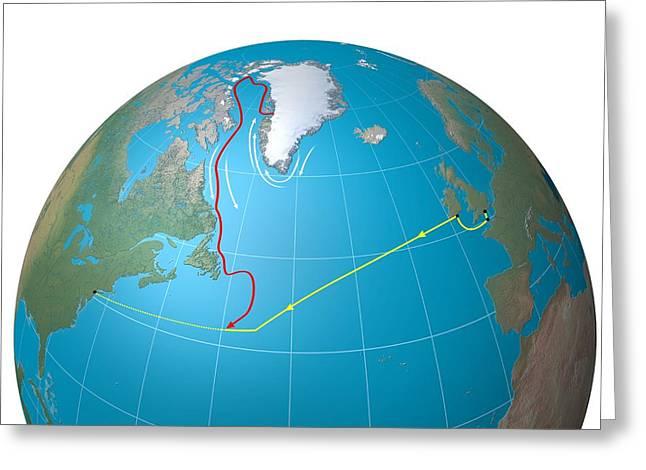 Titanic Ship And Iceberg Routes, Diagram Greeting Card