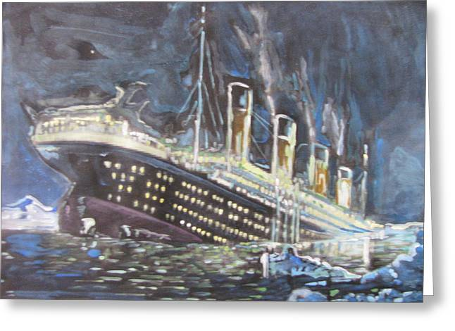 Greeting Card featuring the painting Titanic Sinking by Vikram Singh