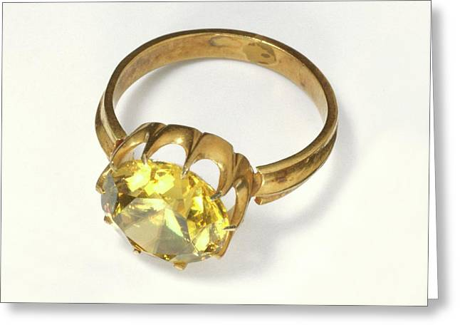 Titanite Stone Set In Antique Gold Ring Greeting Card