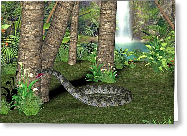 Titanoboa Prehistoric Snake Greeting Card by Friedrich Saurer