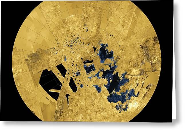 Titan's Lakes Greeting Card by Nasa/jpl-caltech/asi/usgs