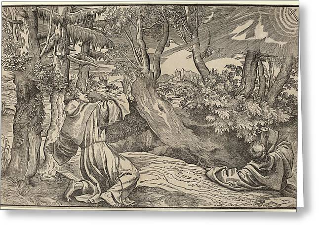 Titian German, Active C. 1530-1550, Saint Francis Receiving Greeting Card by Quint Lox