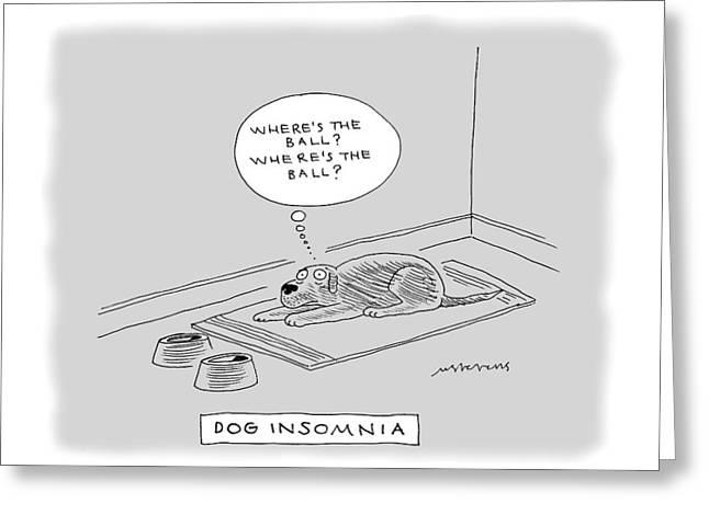 Title: Dog Insomnia. A Dog At Night Thinking Greeting Card
