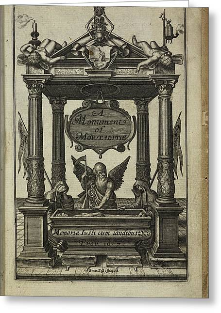 Title Page Of A Monument Of Mortalitie Greeting Card by British Library