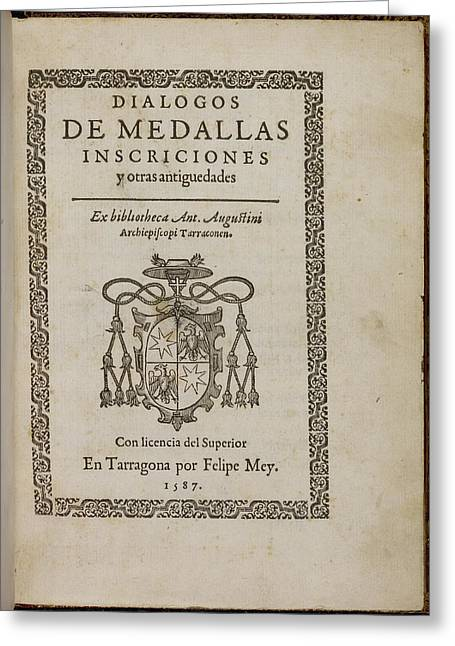 Title Page Of 'dialogos De Medallas' Greeting Card by British Library