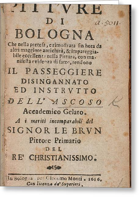 Title Page Of 'le Pitture Di Bologna' Greeting Card by British Library