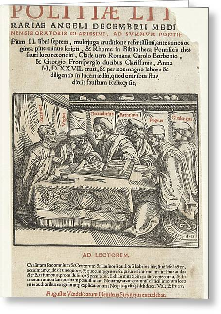 Title Print Six Scholars Sitting Around A Table And Text Greeting Card by Hans Burgkmair (the Elder) And Heinrich Steiner