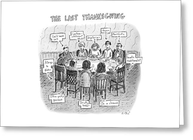 Title: The Last Thanksgiving. Family Seated Greeting Card