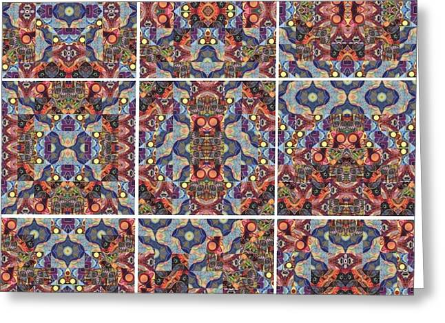 T J O D Mandala Series Puzzle 1 Variations 1-9 Greeting Card by Helena Tiainen
