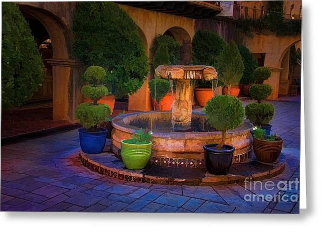 Tlaquepaque Fountain Greeting Card by Jon Burch Photography