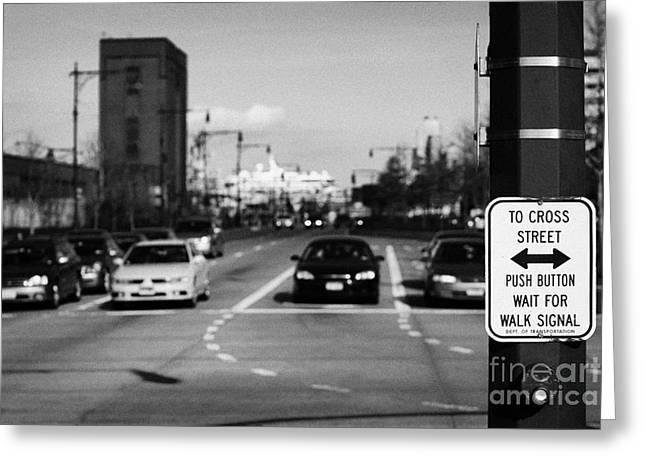 to cross street push button wait for walk signal sign 12th Avenu new york city Greeting Card by Joe Fox