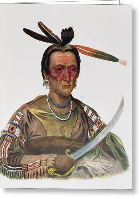 To-ka-cou, A Yankton Sioux Chief, 1837, Illustration From The Indian Tribes Of North America Greeting Card