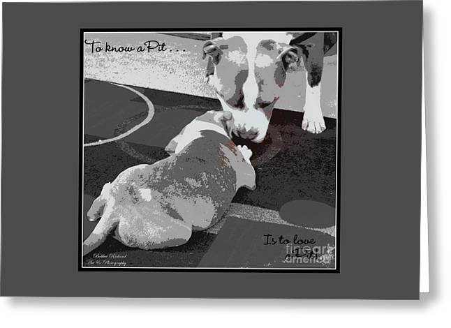 To Know A Pit Is To Love Greeting Card by Bobbee Rickard