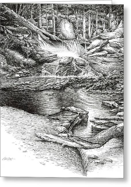 Greeting Card featuring the drawing To Laurel Falls by Bob  George