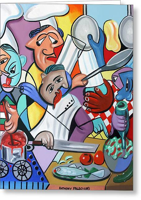 Greeting Card featuring the painting To Many Cooks In The Kitchen by Anthony Falbo