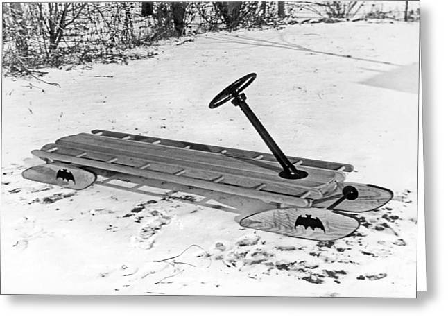To The Bat Sled, Robin! Greeting Card