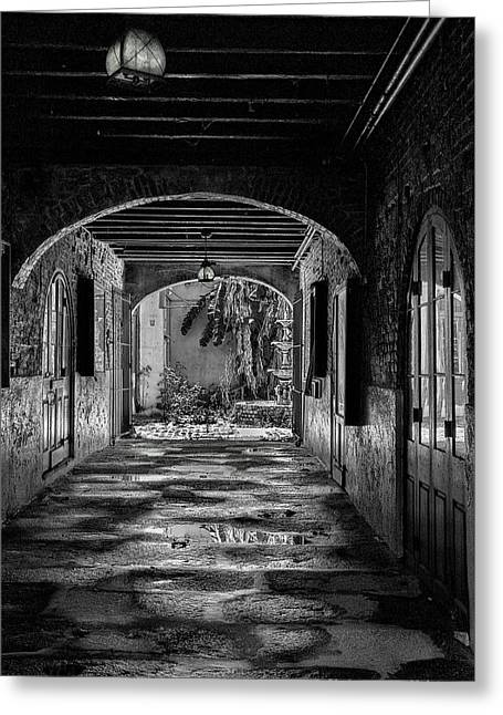 To The Courtyard - Bw Greeting Card by Christopher Holmes