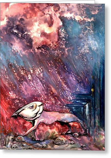 Greeting Card featuring the painting To The Freedom by Mikhail Savchenko