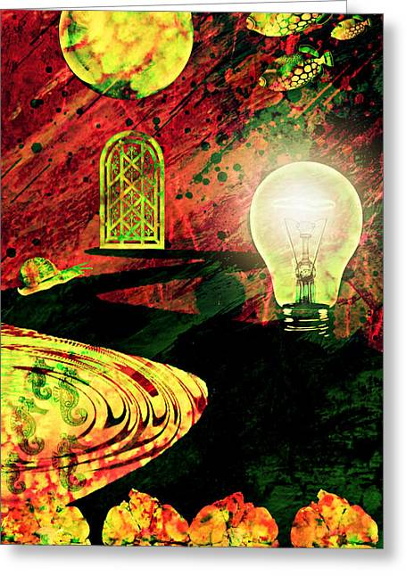 Greeting Card featuring the mixed media To The Light by Ally  White