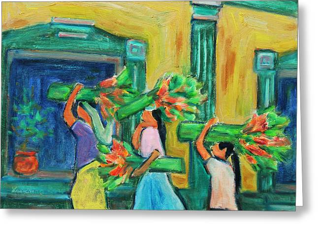 To The Morning Market Greeting Card by Xueling Zou
