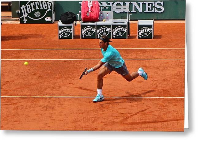 Rafael Nadal To The Net Greeting Card by Alexi Hoeft