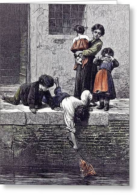 To The Rescue L. Passini 1878 Children Children Rescuing Greeting Card by English School