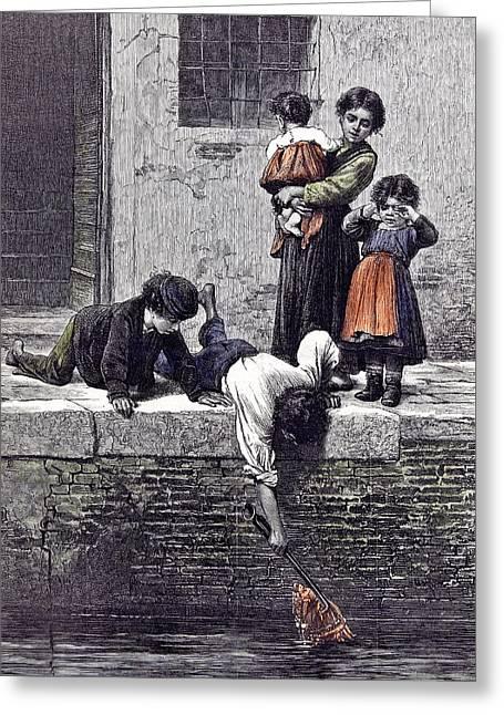 To The Rescue L. Passini 1878 Children Children Rescuing Greeting Card