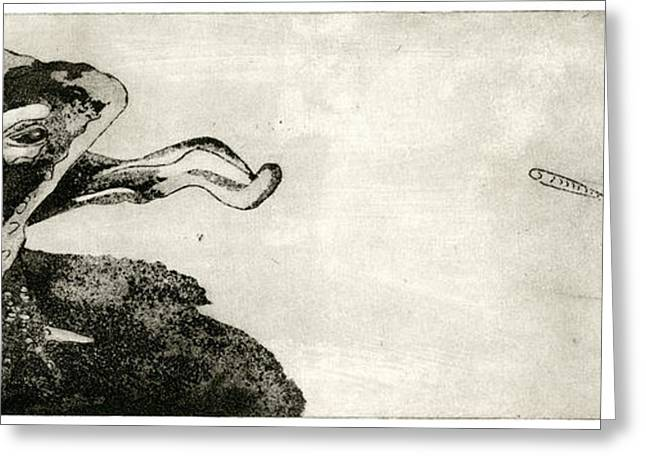 Toad And Butterfly - When There Is No Way Forward - Predator-prey System - Food Chain - Etching Series Greeting Card by Urft Valley Art