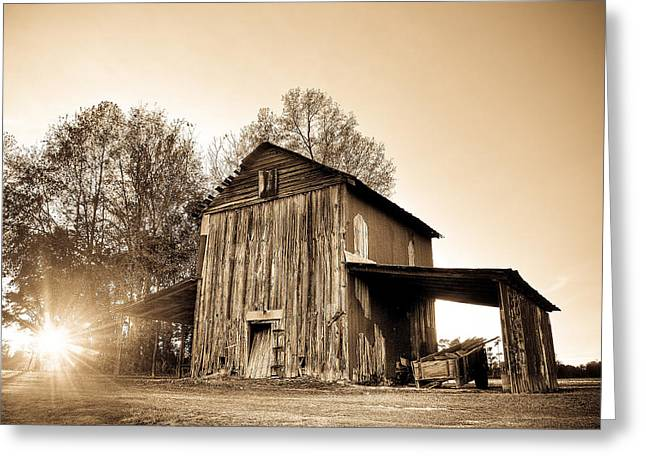 Tobacco Barn In Sunset Greeting Card