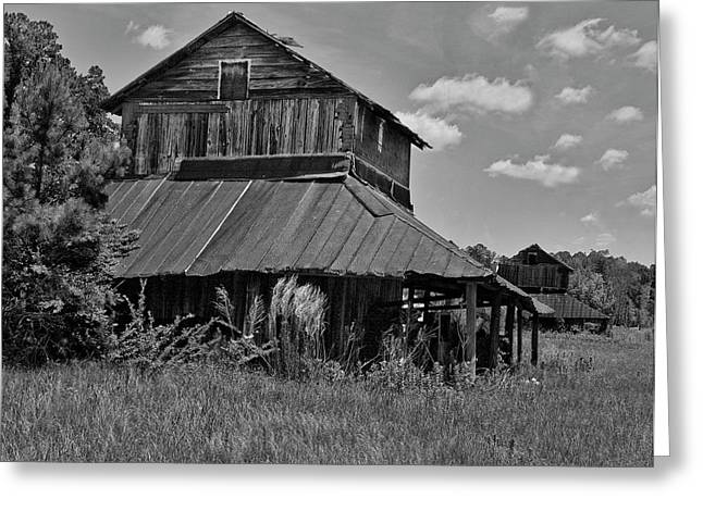 Tobacco Barns With Clouds Greeting Card