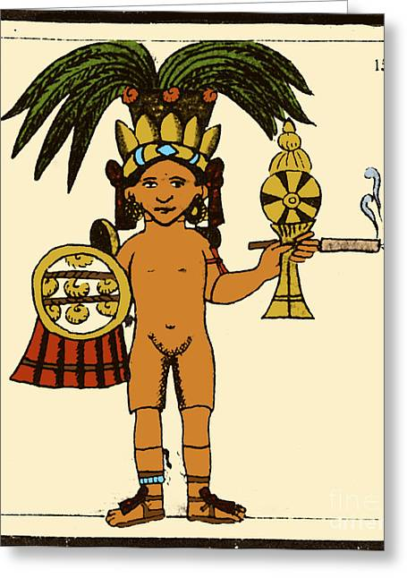 Tobacco In Aztec Ritual, Florentine Greeting Card by Science Source