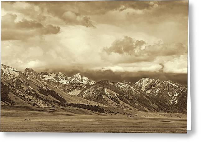 Tobacco Root Mountain Range Montana Sepia Greeting Card