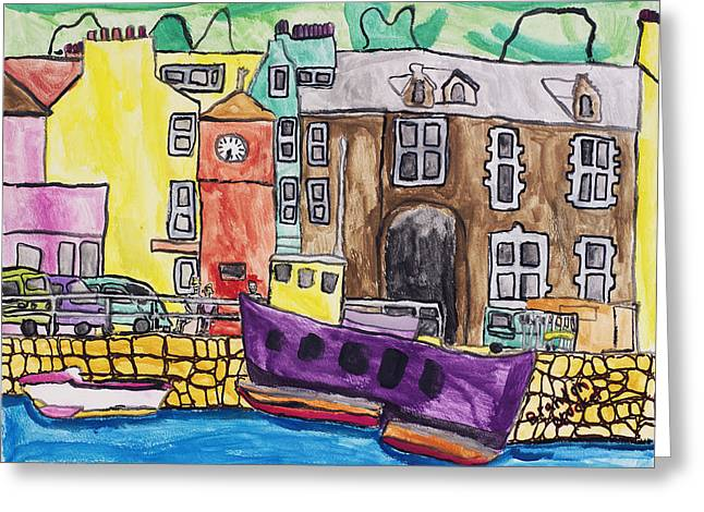 Greeting Card featuring the painting Tobermory by Artists With Autism Inc