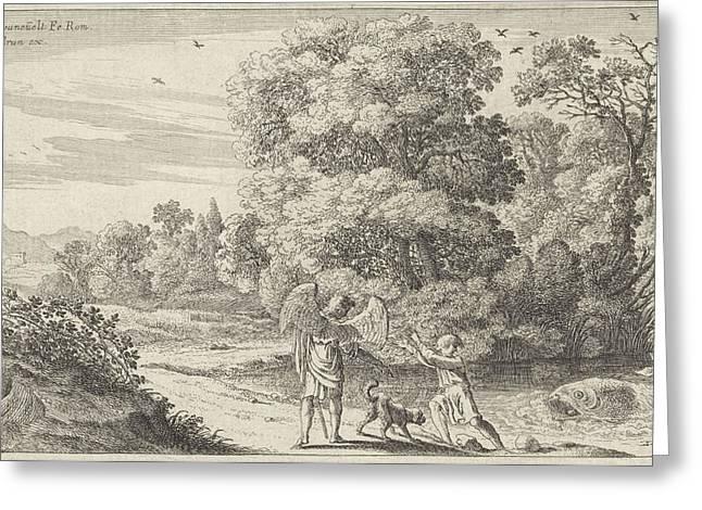Tobias Scares The Fish, Herman Van Swanevelt Greeting Card by Herman Van Swanevelt And Charles Audran