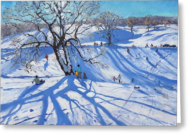 Tobogganers  Chatsworth Greeting Card by Andrew Macara