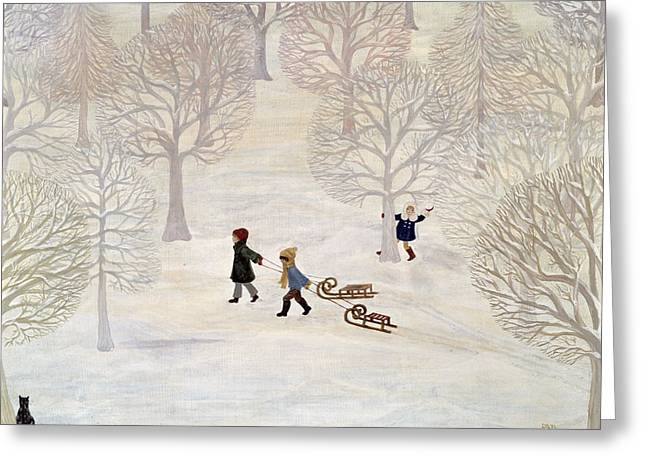 Tobogganing Greeting Card by Ditz