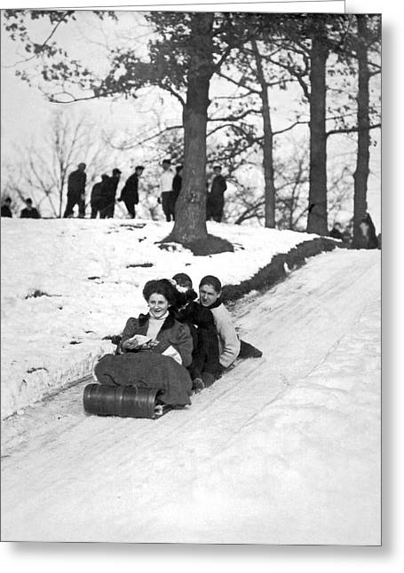 Tobogganing In 1900 Greeting Card by Underwood Archives